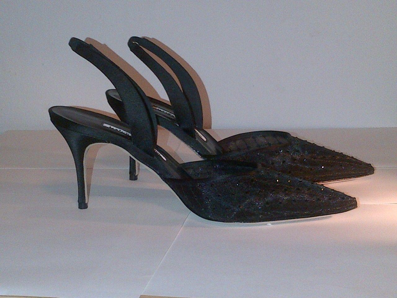 "SOLD!!! NEW! Manolo Blahnik ""Guru"" Heels Satin trim and Swarovski crystals on lace mesh. Satin heel and slingback strap. Size 40.5/U.S. 9.5 RETAIL: $1,125 OUR PRICE: $450"