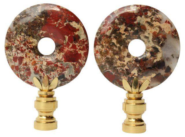 Oxblood Jasper Lamp Finials Pair Lamp Finial Finials Lamp