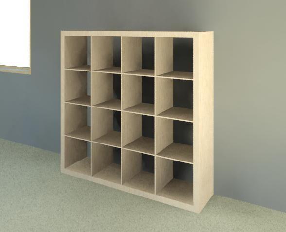 ikea expedit 4x4 bookcase autodesk revit autocad 3d cad model grabcad office pinterest. Black Bedroom Furniture Sets. Home Design Ideas