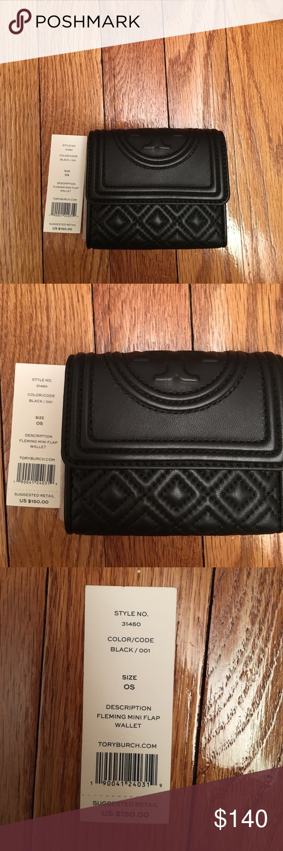fe734215baf1 NWT Tory Burch Authentic Fleming Mini Wallet NWT Tory Burch Authentic Fleming  Mini Wallet. Made of the softest black leather.