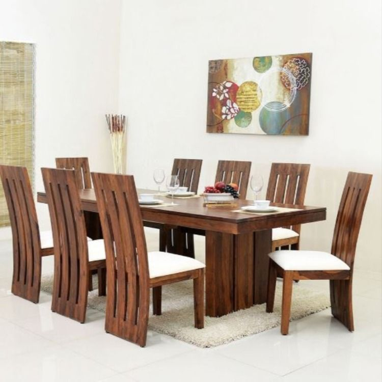 Nilkamal Delmonte Eight Seater Dining Table Set Brown Wooden Dining Table Designs Wooden Dining Table Set Latest Dining Table Solid oak table and chairs