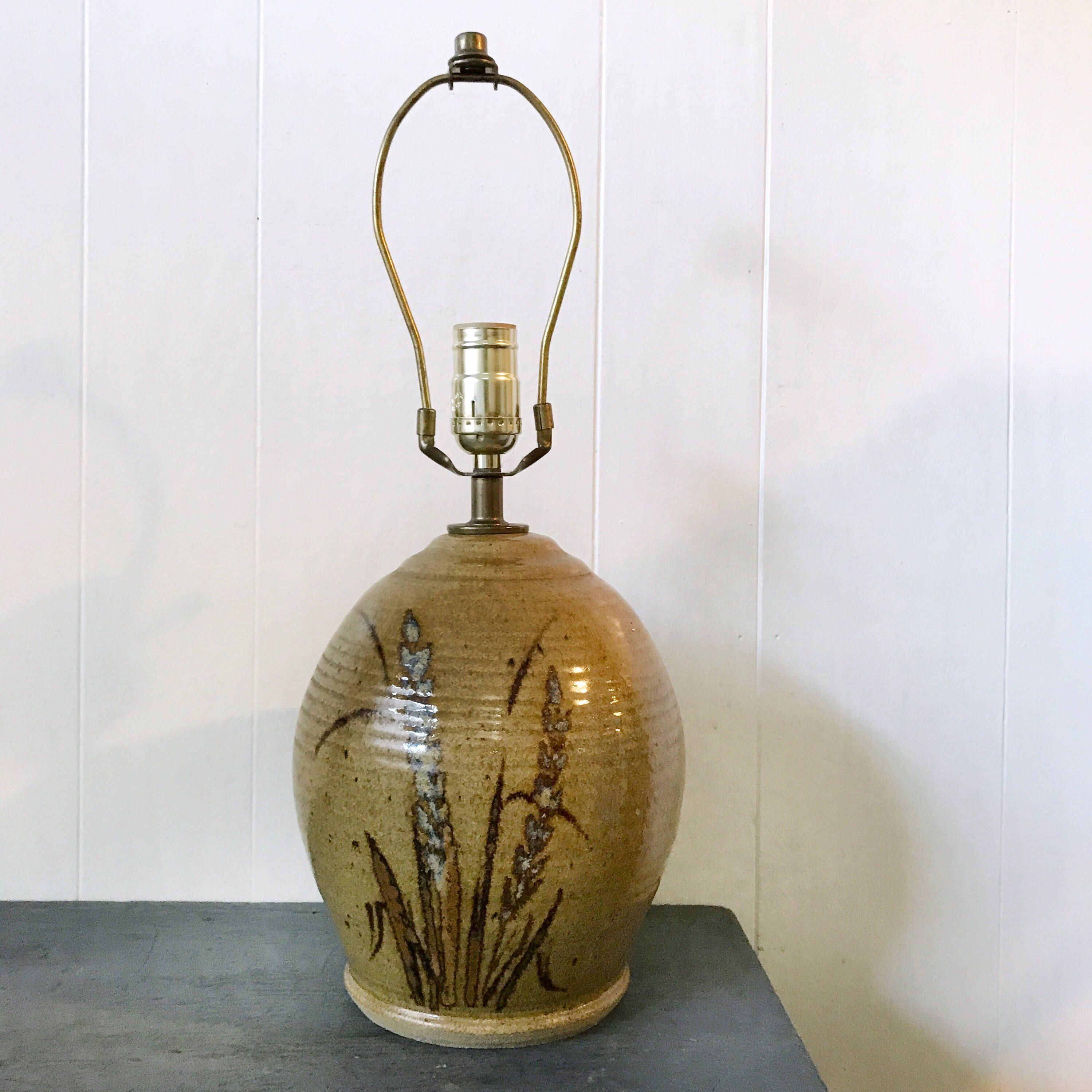 Vintage Pottery Table Lamp Stoneware Lamp Wheat Stalks Boho Lighting Tan Brown Blue Vintage Pottery Boho Lighting Pottery Lamp