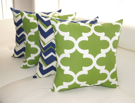 Navy Green Outdoor Pillow Chevron Navy Pillow Fynn Bay Green
