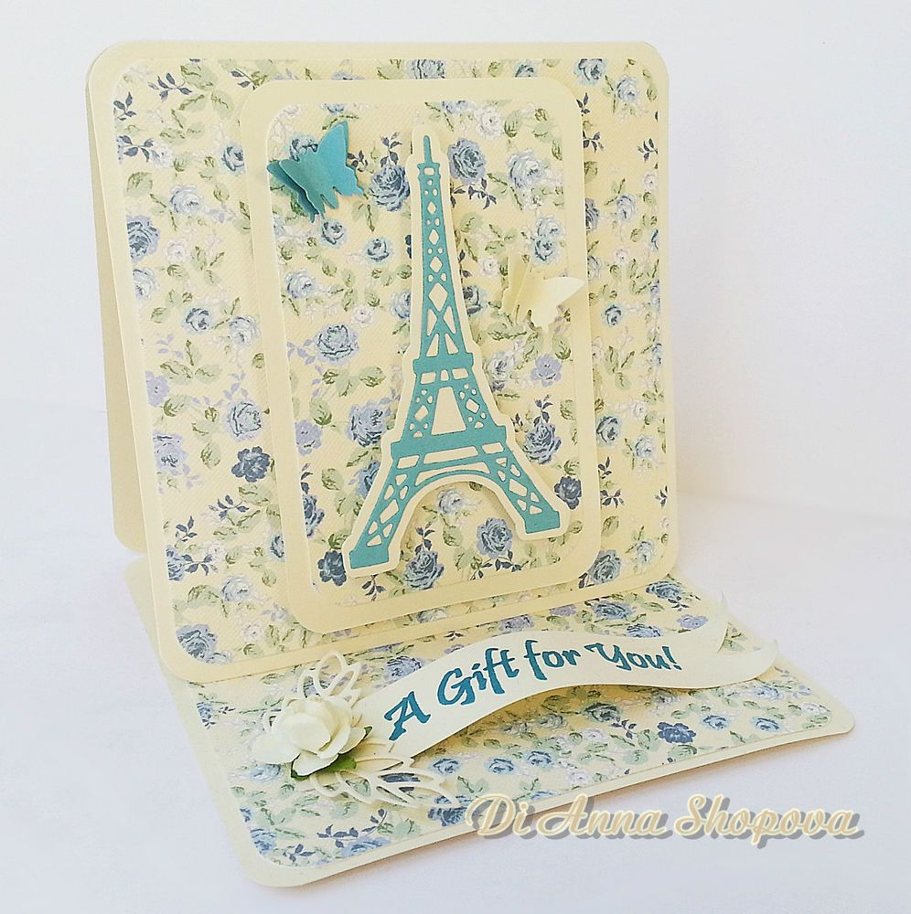 Unique Handmade Greeting Card For Her Shabby Roses Blue French Chic