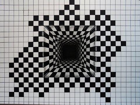 How To Draw 3d Illusion Hole Of Chesspattern Foreshorten Youtube Illusion Kunst Optische Tauschungen Zeichnen 3d Bilder Zeichnen