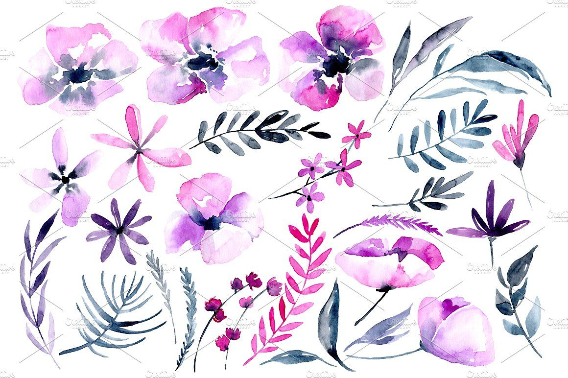 Purple Pink Watercolor Flowers Png With Images Flower