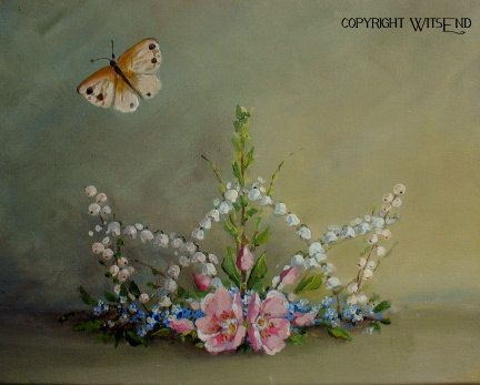 Fairy Crown painting stil life original ooak art roses by 4WitsEnd