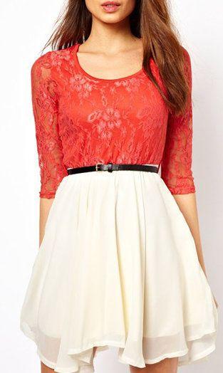 Color Block Half Sleeve Lace Dress