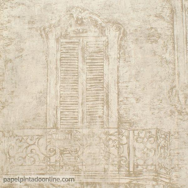 Papel pintado paris rs71907 con fondo beige y dibujo de un for Papel pintado marron oscuro