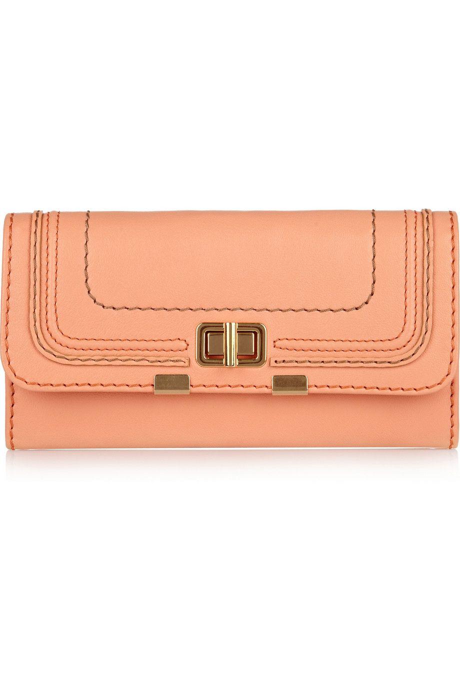 Such a sweet peach Chloé wallet!