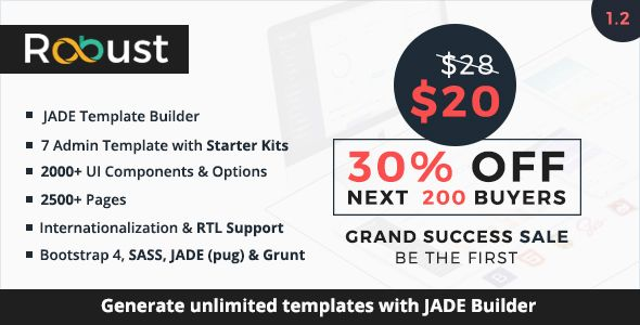 Robust - Responsive Bootstrap 4 Admin Template + Jade Builder