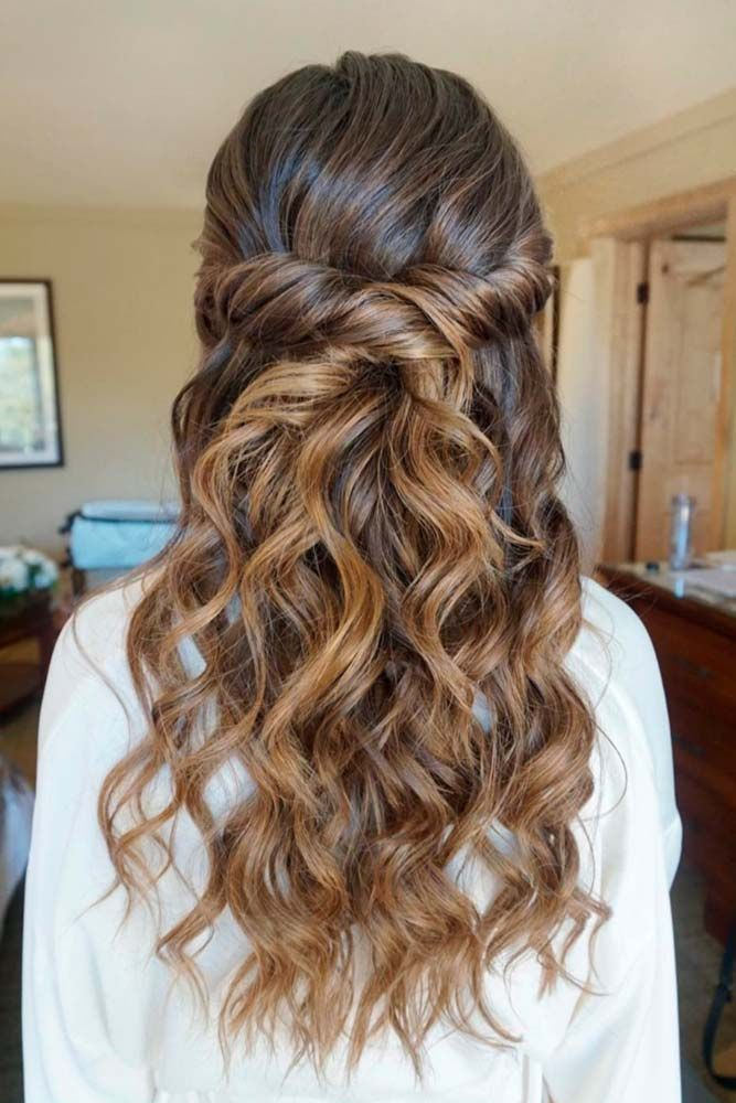 30 Chic Half Up Half Down Bridesmaid Hairstyles Lovehairstyles Com Guest Hair Hair Styles Wedding Hairstyles For Long Hair