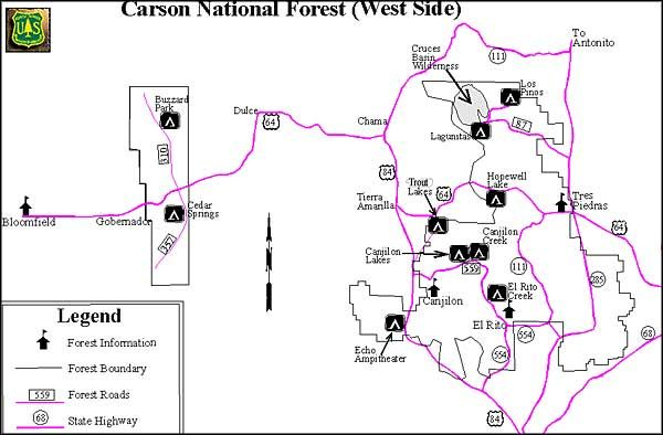 Campgrounds Map For Carson National Forest West Side National