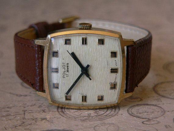 Rare Poljot Kirovskie 1MChz Men's Dress Watch Soviet Union cccp 70'S Case Gold Plated Au 10
