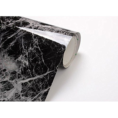 Black Grey Granite Look Marble Effect Contact Paper Film Vinyl