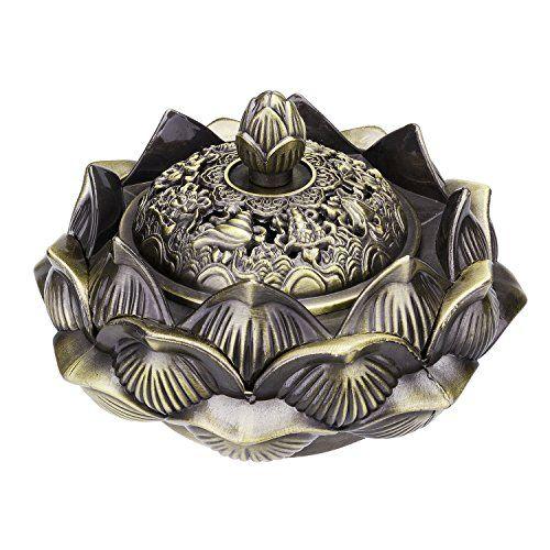 TtoyouU Chinese Incense Burner Incense Holder Lotus Flower Incense Bowl Handmade Censer (Bronze)
