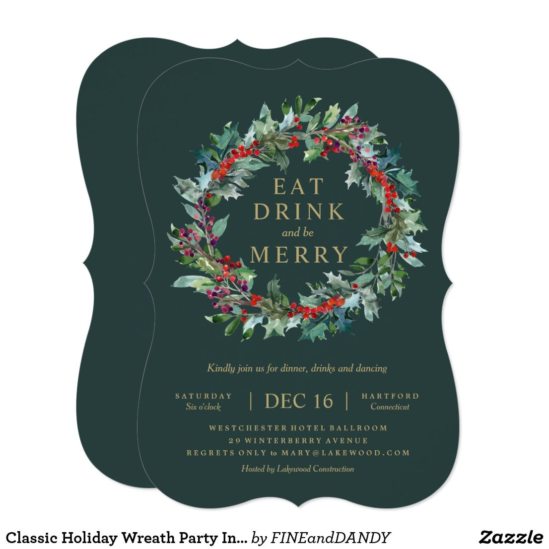 Classic Holiday Wreath Party Invitation  Holiday Wreaths Party