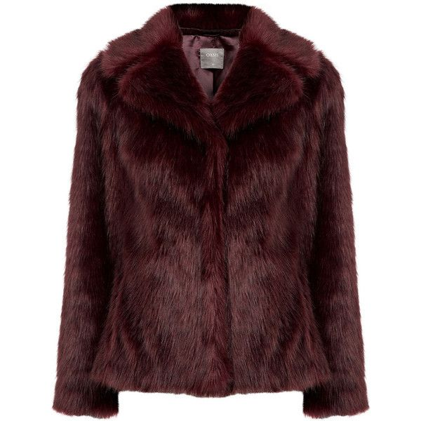 MOLLY FAUX FUR COAT (€105) ❤ liked on Polyvore featuring outerwear, coats, red slip, faux fur coat, red faux fur coat, imitation fur coats and evening coat