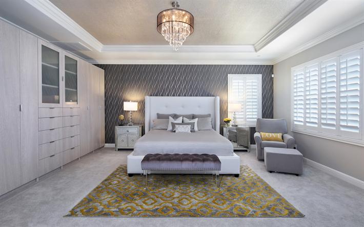 Innenausstattung schlafzimmer  Herunterladen hintergrundbild luxuriöse schlafzimmer, moderne ...