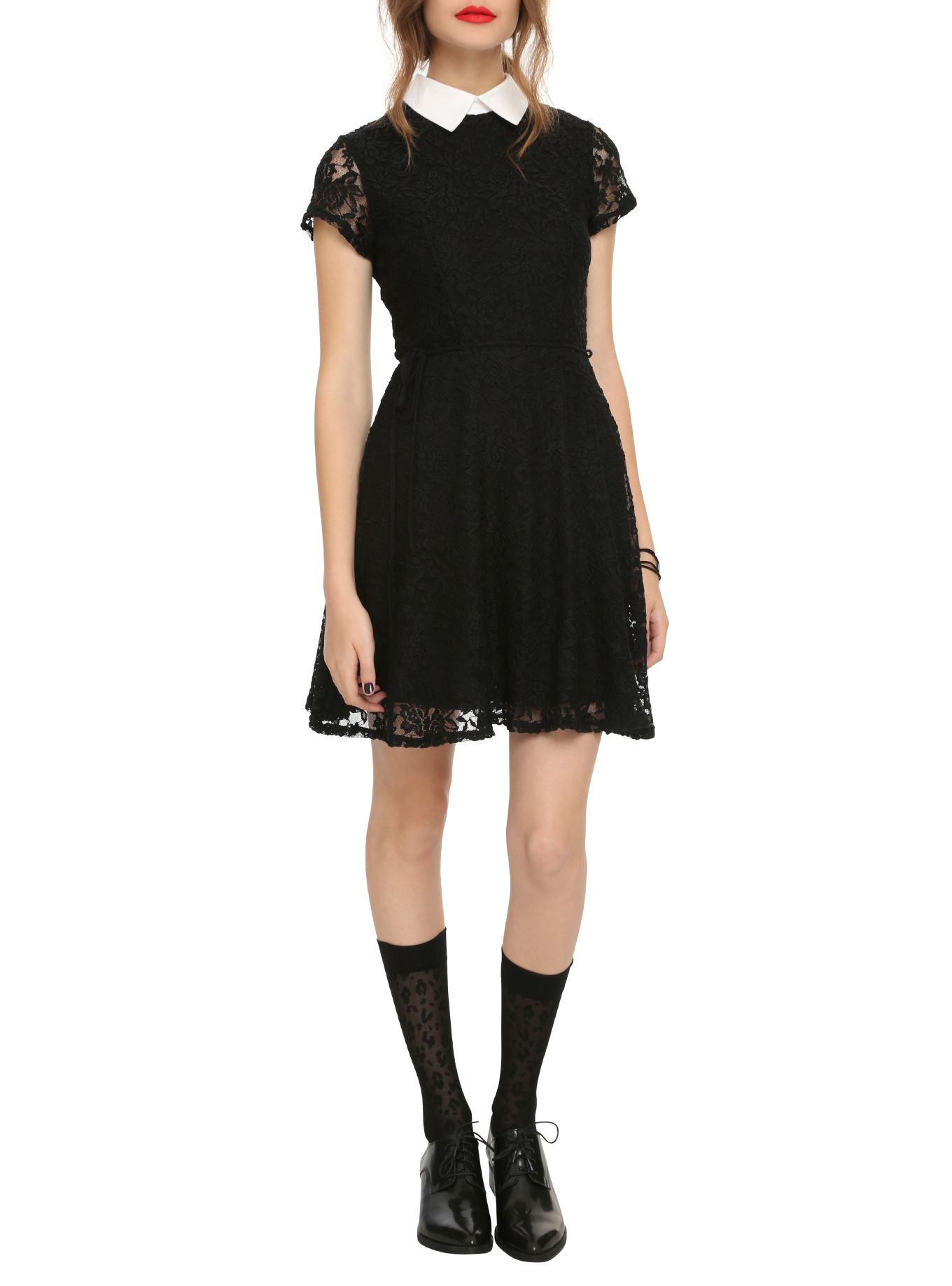 0b0247ba2 Black Lace White Collar Dress | Hot Topic | wish | White collar ...