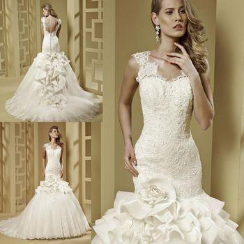 Vestido De Casamento 2015 Fashionable Design Ivory Cap Sleeve Mermaid Bridal Dress Lace Wedding Gowns Low Back W3854