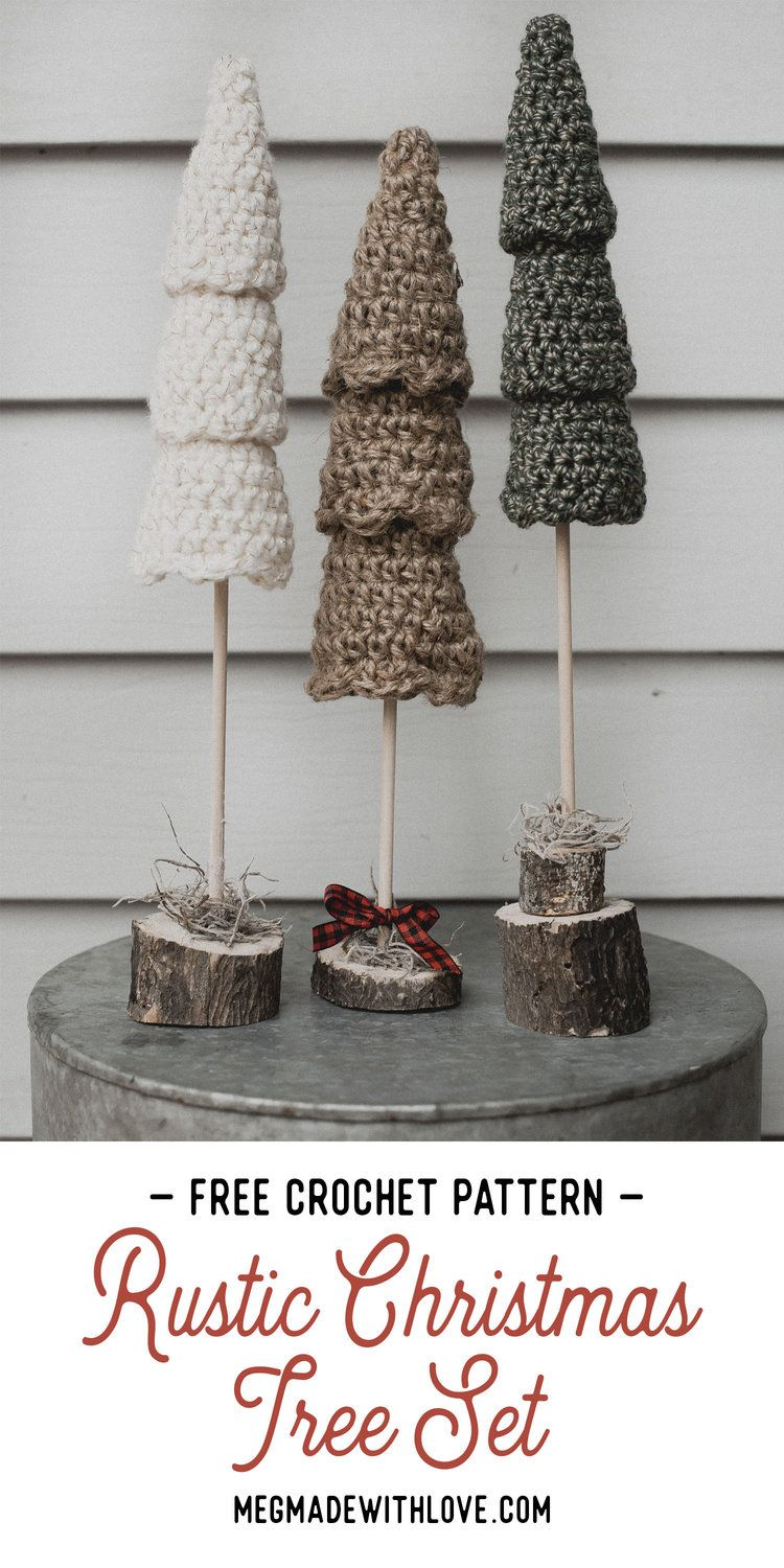 Free Crochet Pattern for the Rustic Christmas Tree Set #rusticchristmas