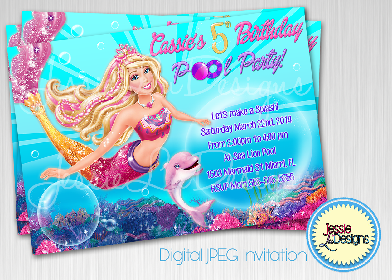 Barbie Mermaid Custom Digital Birthday Pool Party Invitation by ...
