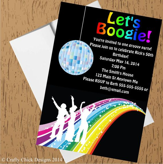 Disco Party Invitations Disco Invitation Disco Birthday Dance
