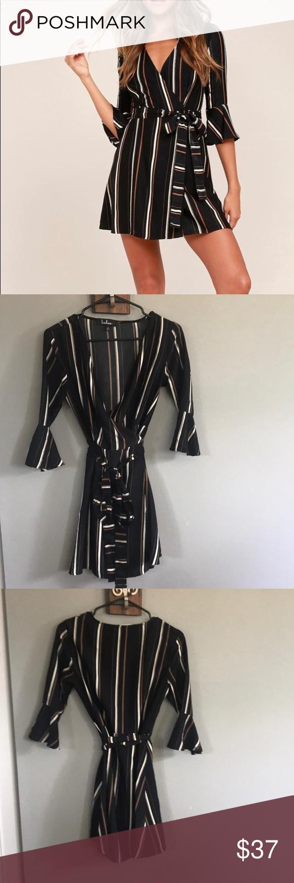 Black striped wrap dress my posh closet pinterest wrap dress