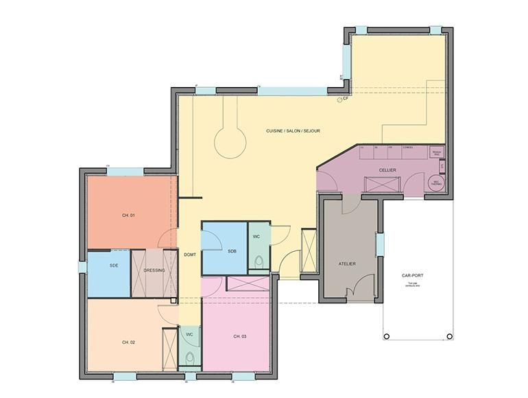 Plan rez de chaussée maison plein pied Tino Néology plan maison