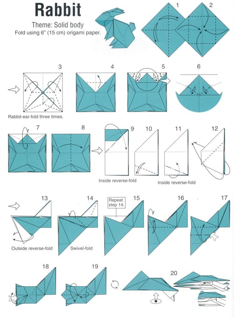 Hase Origami Anleitung Basteln Tiere Schritte Dekoration Origami Anleitungen Origami Hase Origami Design