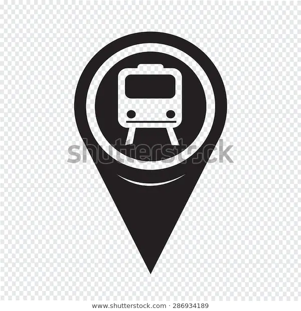 Map Pointer Train Icon Stock Vector Royalty Free 286934189 Vector Stock Vector Map
