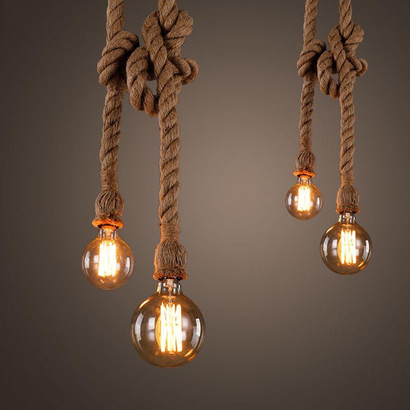 Quadruple Vintage Touw Hanglampen Lamp Persoonlijkheid Loft Lichten E27 Edison Lamp Henneptouw Hanglamp Voor Keuken C Hanglamp Hangende Lampen Touw Verlichting