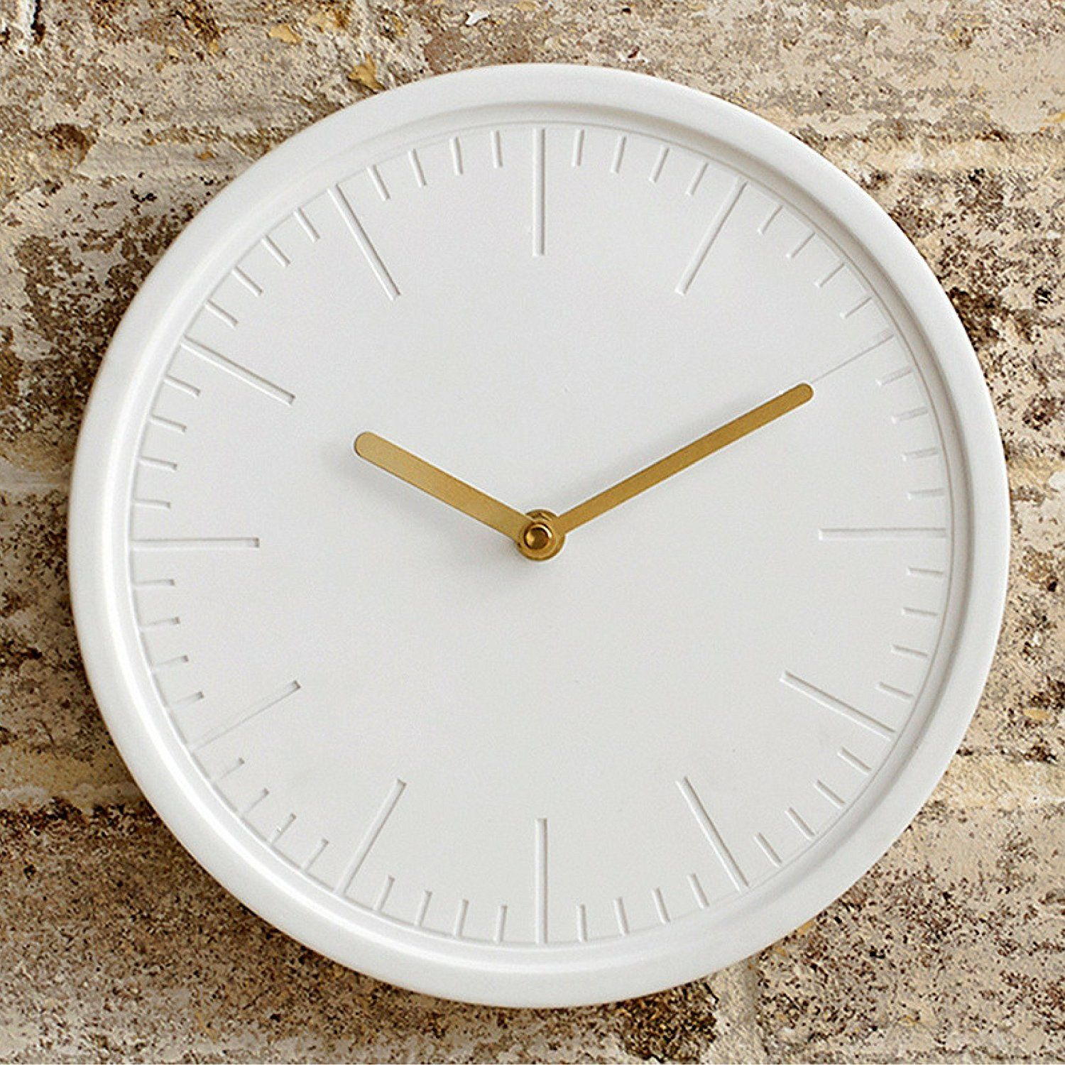 Amazon Com White Wall Clock By Beautiful Things Online Round 10 Inch Ceramic Face Gold Hands Silent Quar Clock Wall Decor White Wall Clocks Wall Clock