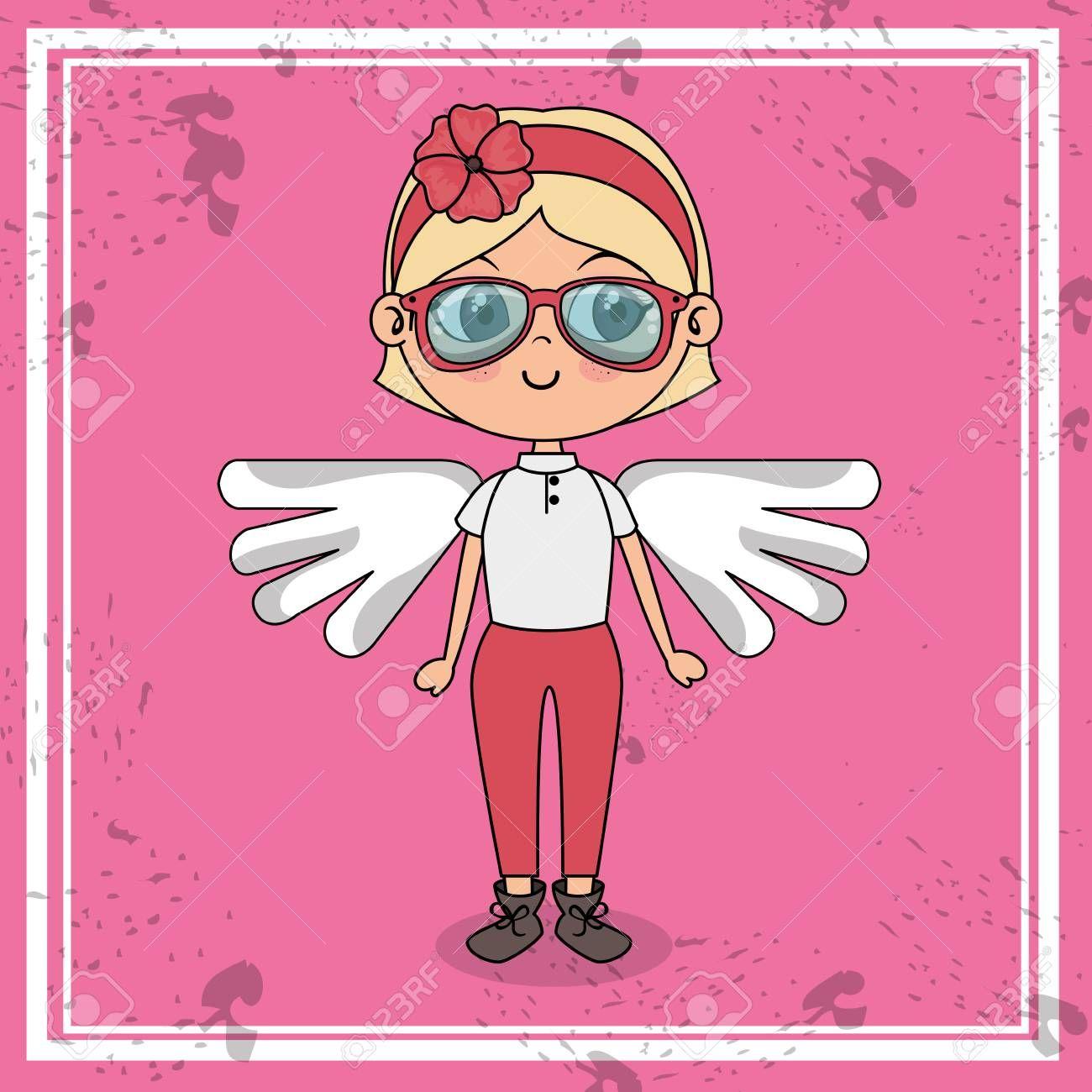 beautiful girl with wings kawaii character vector illustration design ,