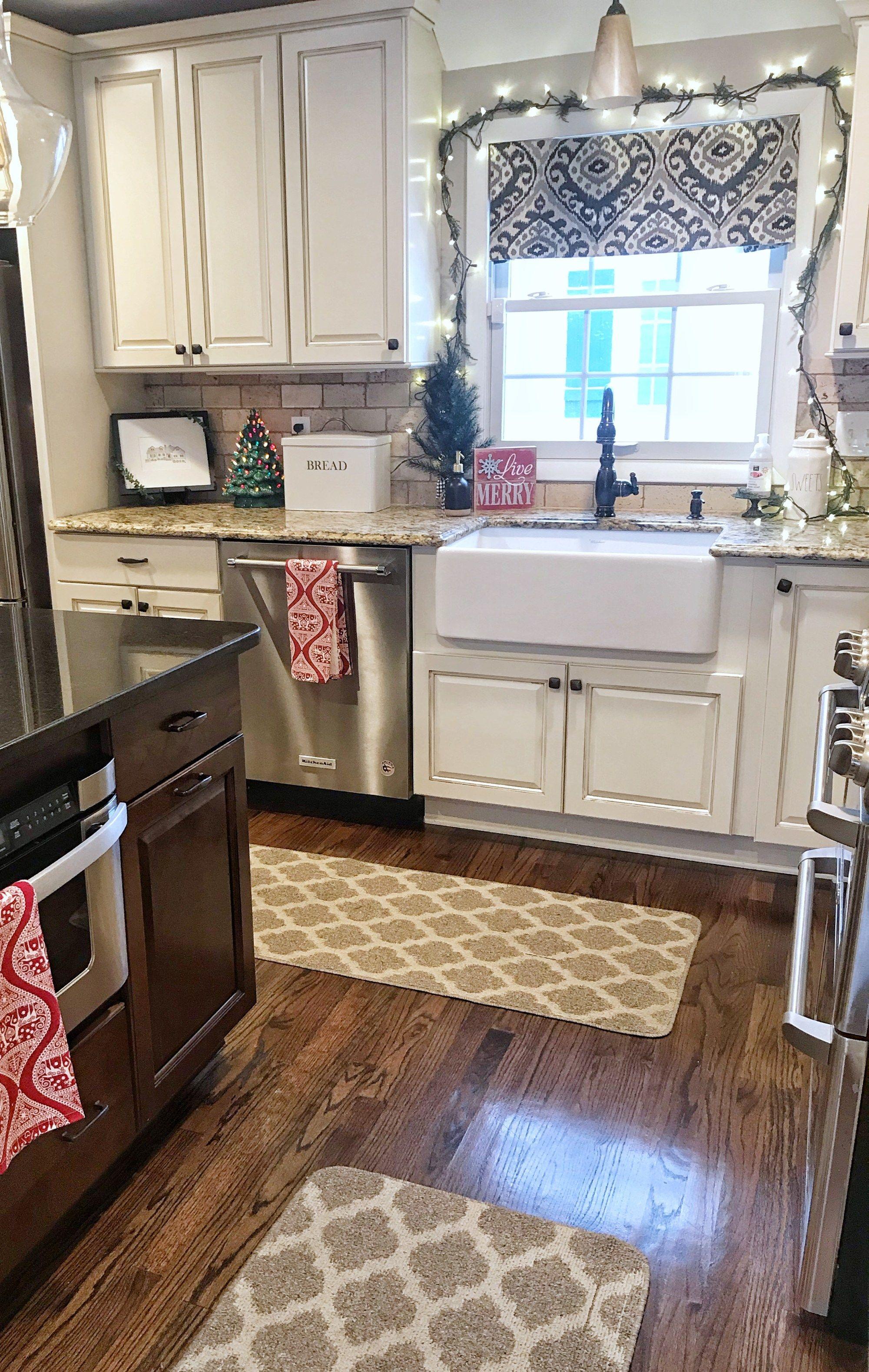 festive and cozy christmas home tour farmhouse christmas kitchen farmhouse style kitchen on kitchen xmas decor id=39593