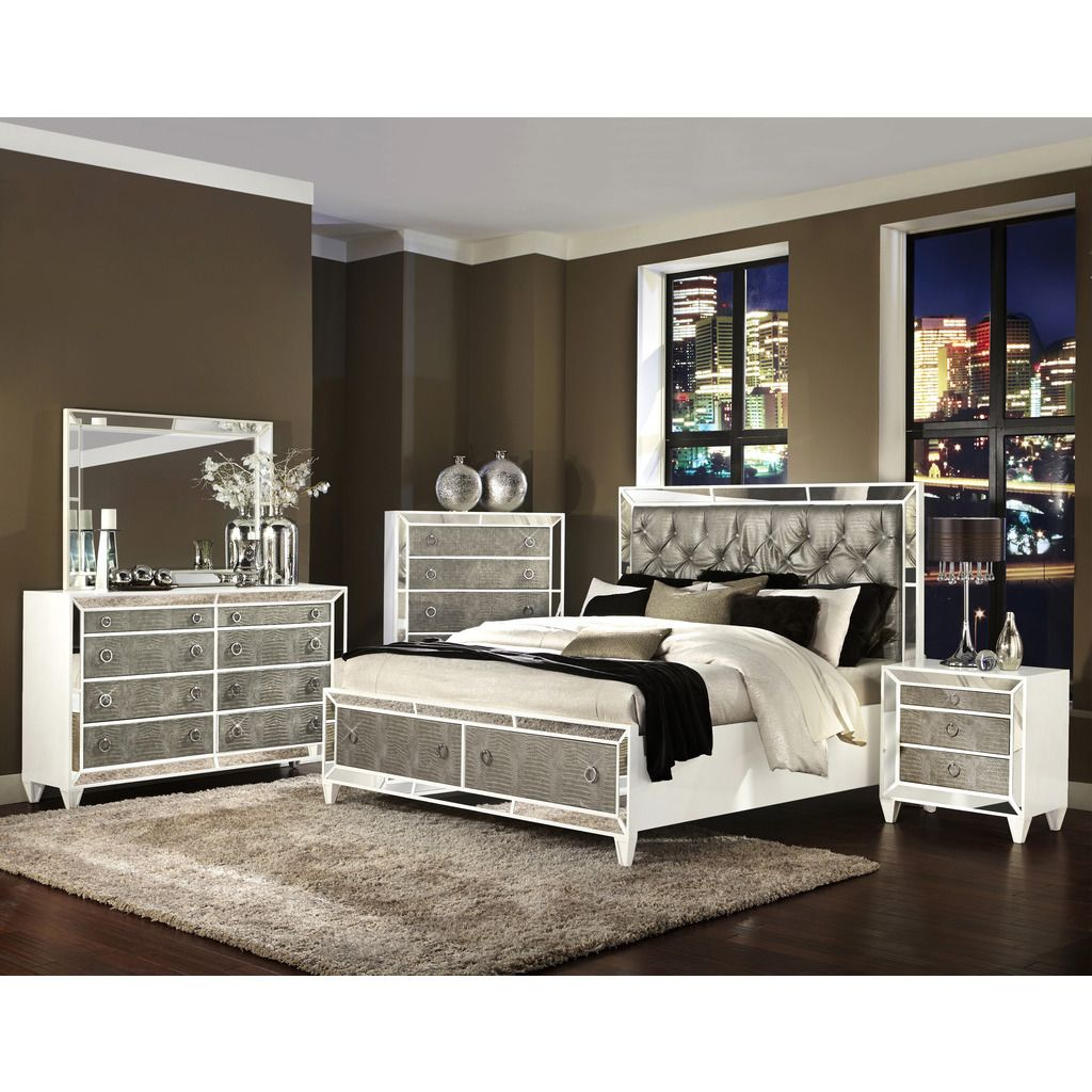 Dripping In Luxury The Monroe Bedroom Collection Has It At All Crocodile Embossed Drawer Fronts Mirrored Accents And Polished Platinum Jeweled Hardware