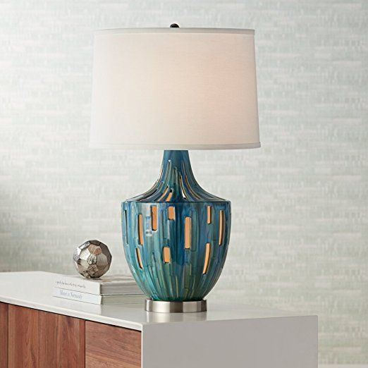 High Quality Possini Euro Will Teal Blue Ceramic Nightlight Table Lamp     Amazon.com Amazing Pictures