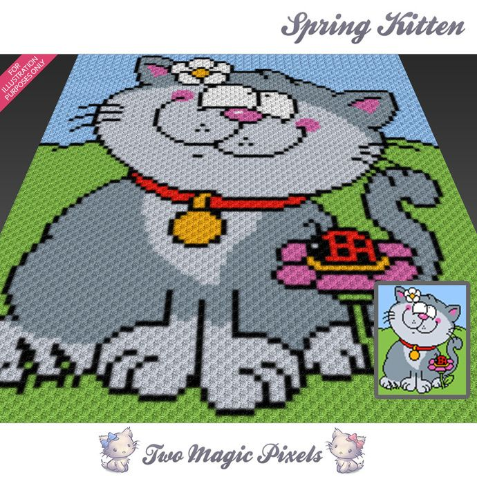 Spring Kitten crochet blanket pattern; c2c, cross stitch; graph; pdf ...