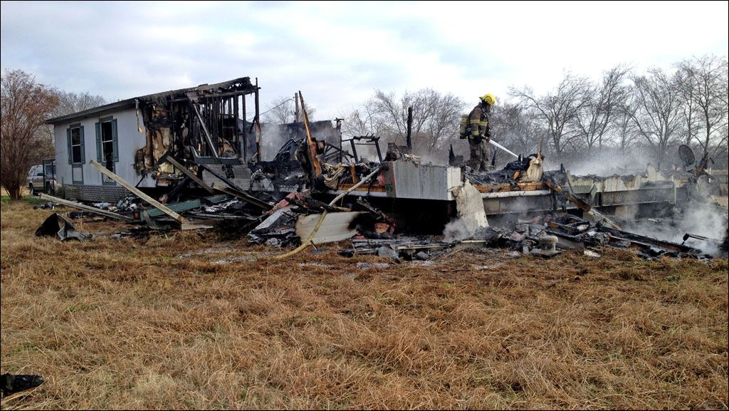 Fire guts rural Collin County Texas mobile home