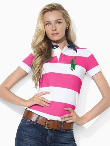 Cheap Polo Ralph Lauren Women Striped Big Pony White Pink