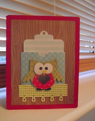 Owl card made with Silhouette Cameo.