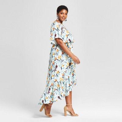 9a5ed193fda Women s Plus Size Floral Print High Low Maxi Dress - Ava   Viv Blue ...