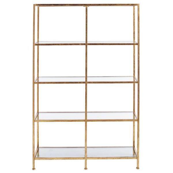 Home Decorators Collection 62 25 In Gold Leaf Metal 4 Shelf Accent Bookcase With Open Back V183106xxa Np In 2020 Glass Bookcase Gold Shelves Tempered Glass Shelves