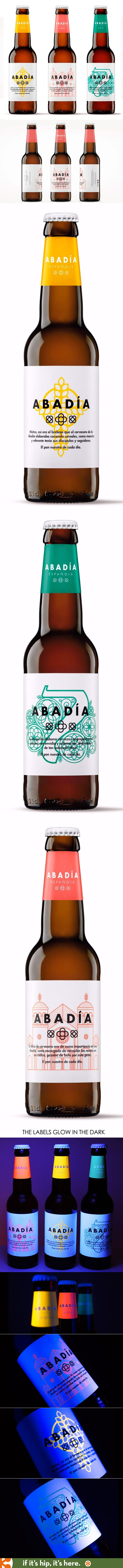 Abadia Beer has lovely labels designs that glow in the dark. Designed by TSMGO (The Show Must Go On)