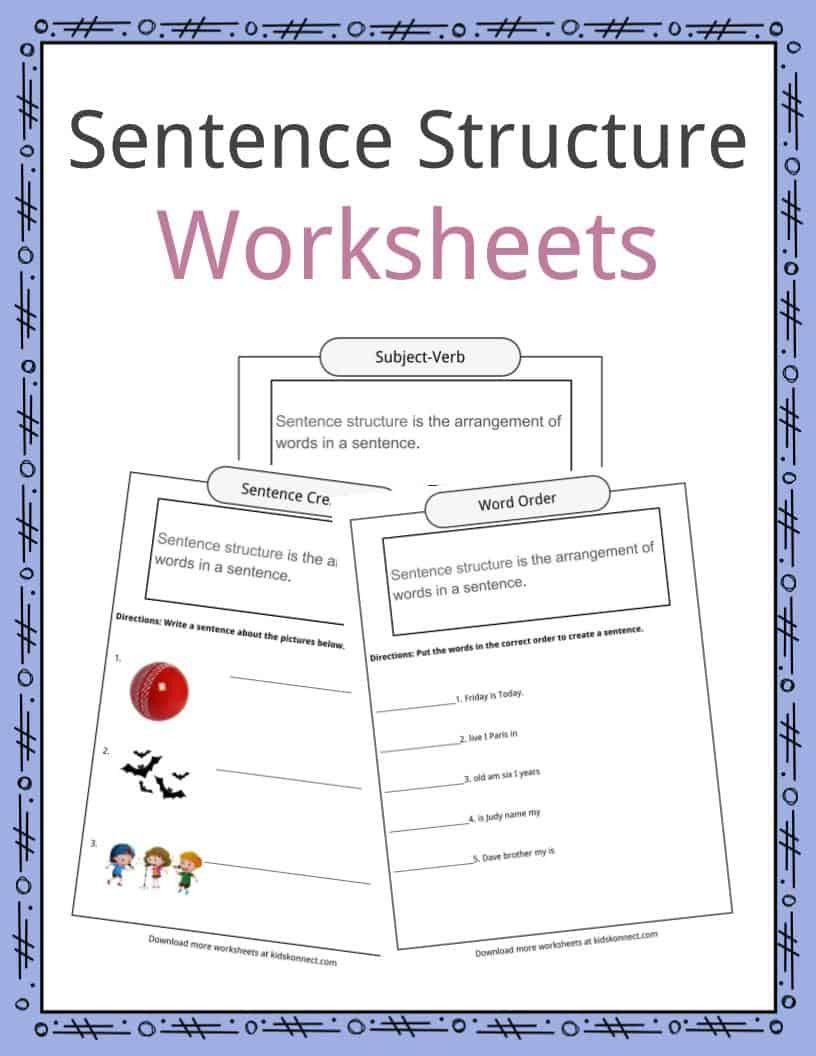 Nouns Worksheet For Kindergarten Worksheet For Kindergarten In 2020 Text Structure Worksheets Sentence Building Worksheets Sentence Structure