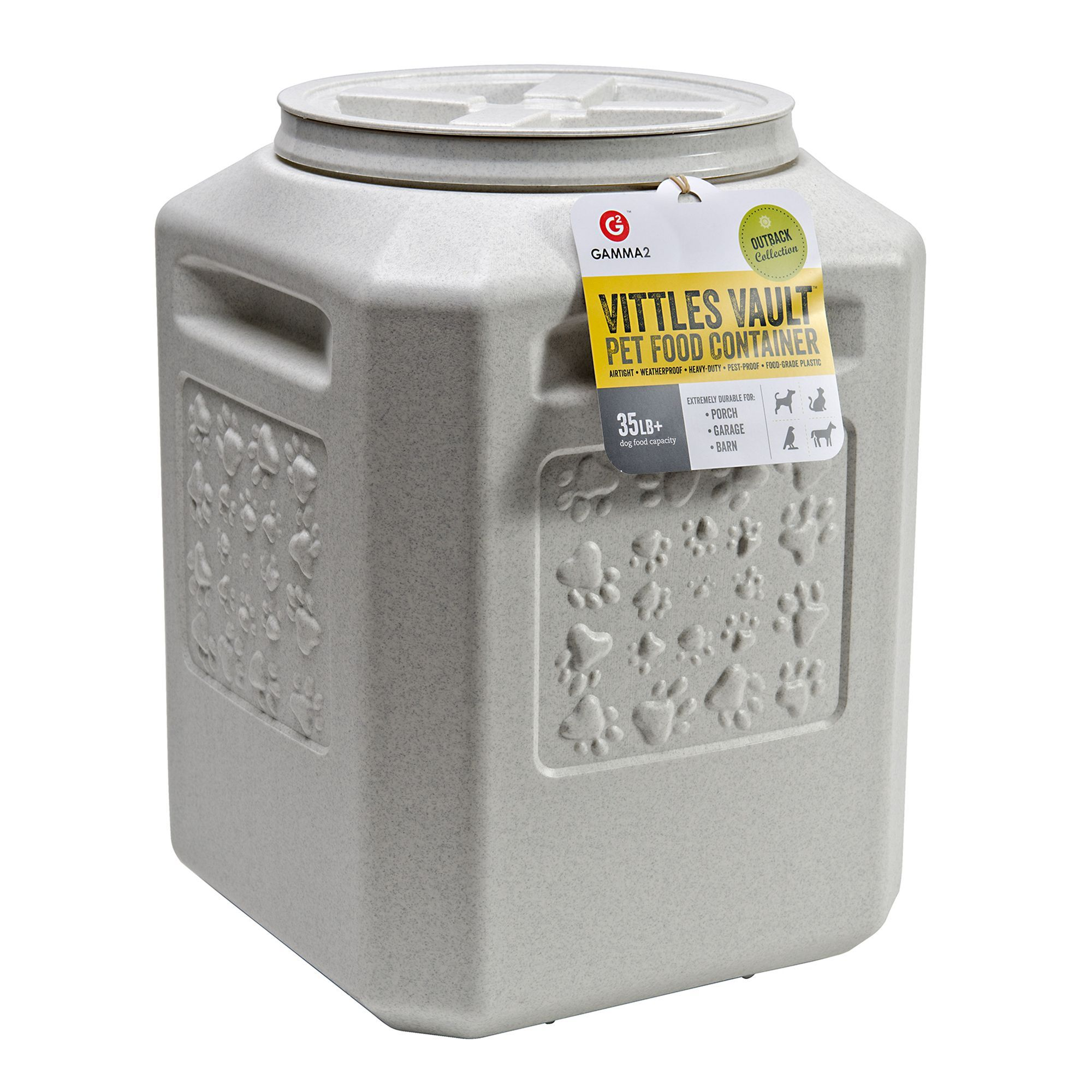 Vittles Vault By Gamma2 Outback Paw Print Pet Food Container Size