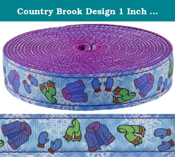 Country Brook Design 1 Inch It's Cold Outside Ribbon on Purple Nylon Webbing,.