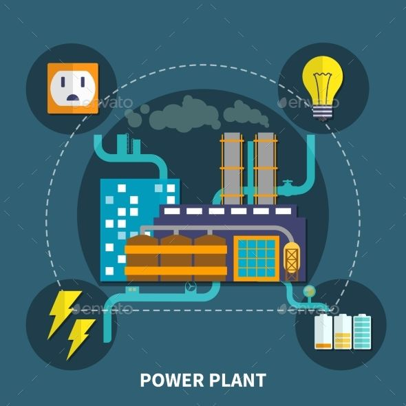 Power Plant Design Vector Illustration With Images Plant