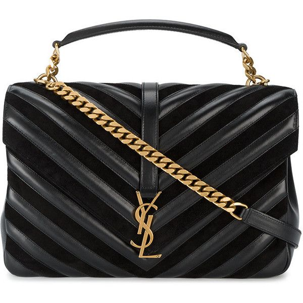 Saint Laurent large College shoulder bag ($2,850) ❤ liked on Polyvore featuring bags, handbags, shoulder bags, black, chain shoulder bag, shoulder handbags, monogrammed leather purse, monogrammed purses and quilted leather handbags